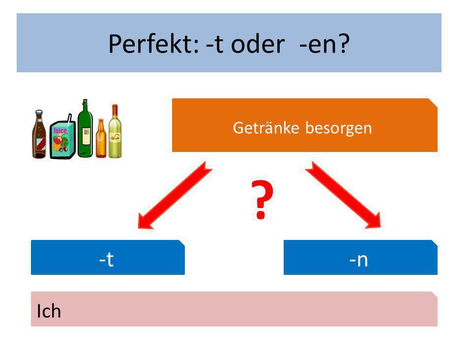 Wann hast du Geburtstag? Perfekt: -t oder -en? Getränke besorgen -t-n Ich ?