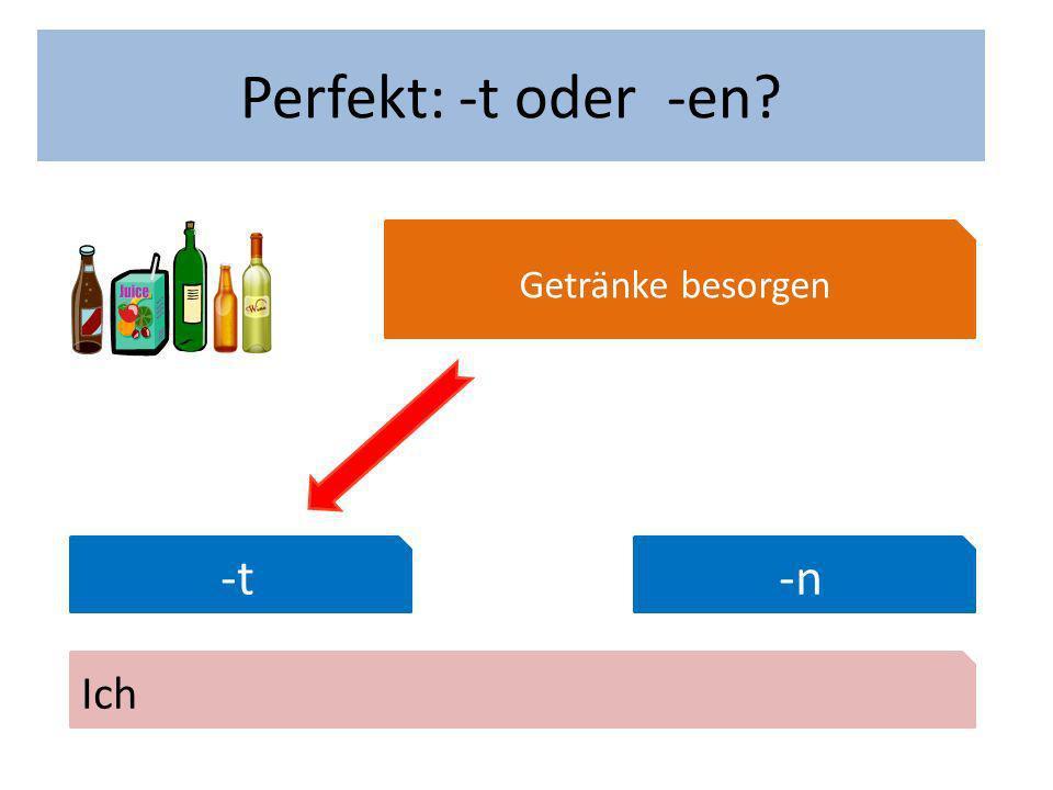Wann hast du Geburtstag Perfekt: -t oder -en Getränke besorgen -t-n Ich