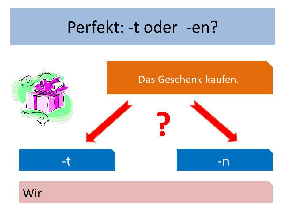 Wann hast du Geburtstag Perfekt: -t oder -en Das Geschenk kaufen. -t-n Wir