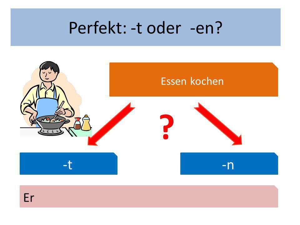 Wann hast du Geburtstag Perfekt: -t oder -en Essen kochen -t-n Er