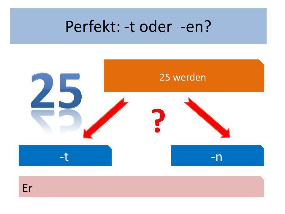 Wann hast du Geburtstag? Perfekt: -t oder -en? 25 werden -t-n Er ?