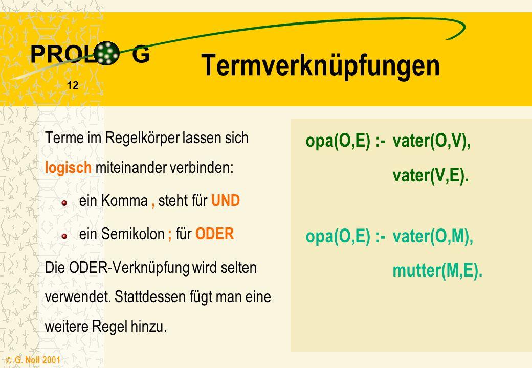 PROL G © G. Noll 2001 11 Terme Operationen old(X):- X > 80. Systemprozeduraufrufe out(X):- write(X), nl. Im Körper einer Regel können als Terme auftre