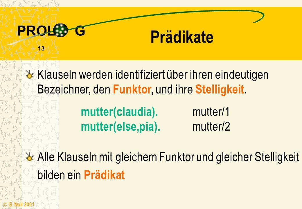 PROL G © G. Noll 2001 12 Termverknüpfungen Terme im Regelkörper lassen sich logisch miteinander verbinden: ein Komma, steht für UND ein Semikolon ; fü