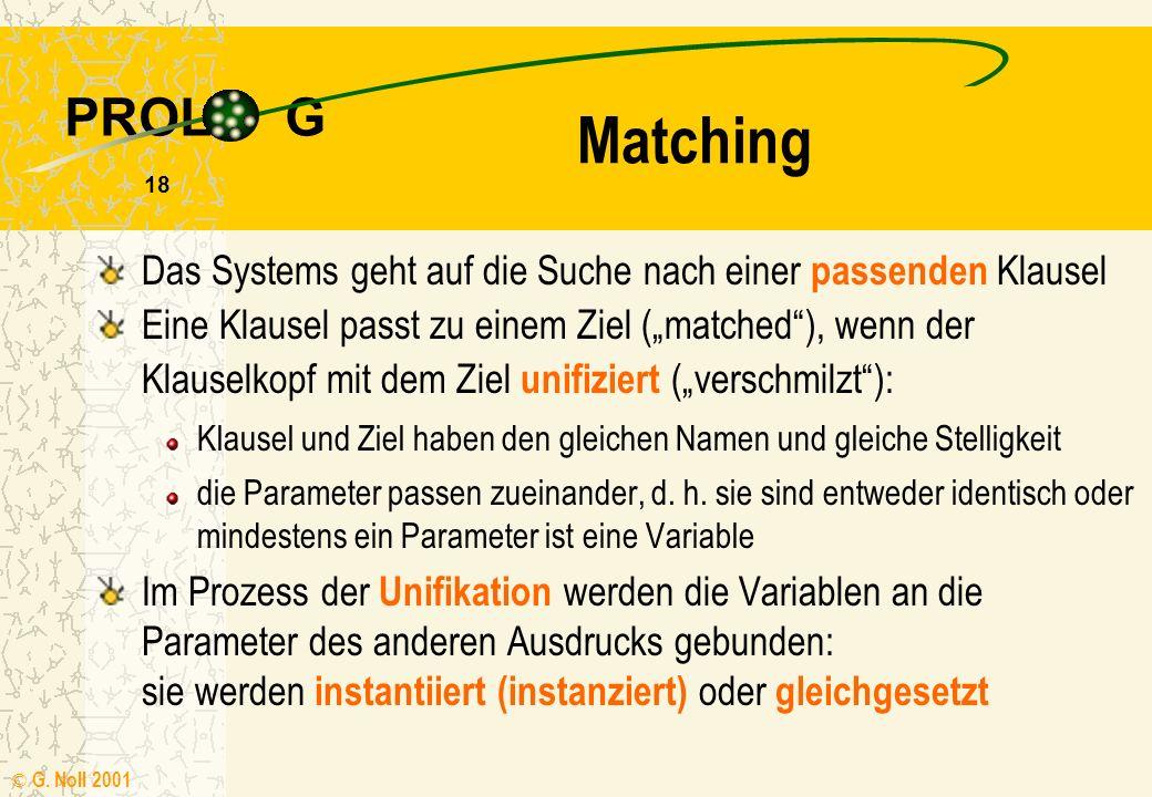 PROL G © G. Noll 2001 17 Semantik Anfragen werden mit Hilfe der Klauseln solange auf einfachere Aussagen zurückgeführt, bis diese Fakten des Programms