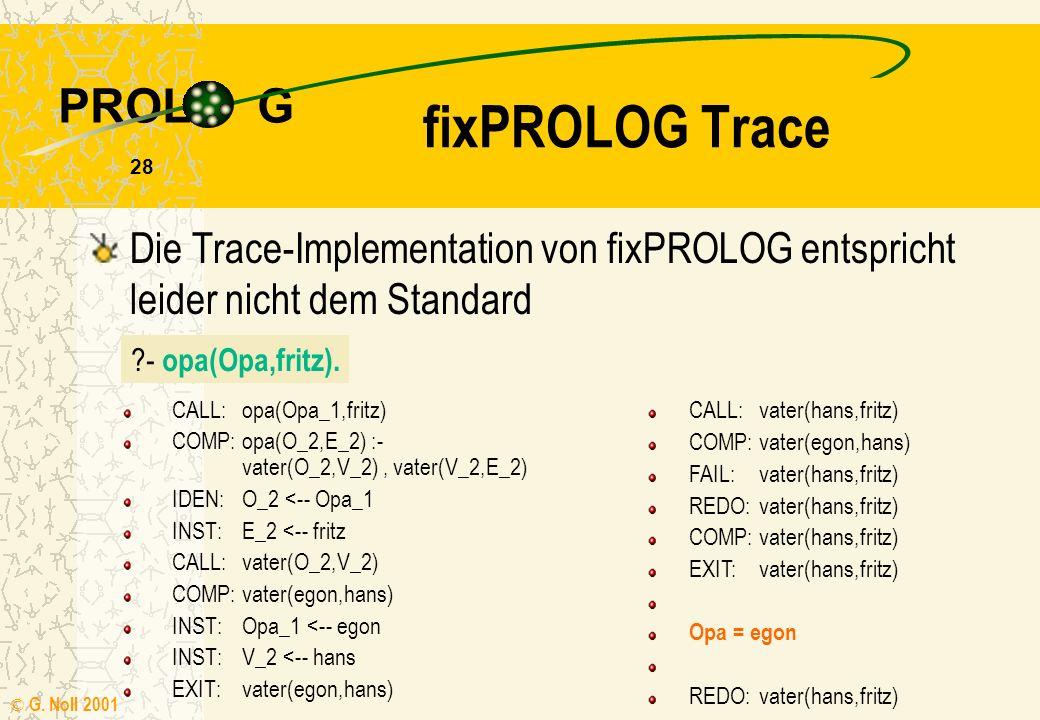 PROL G © G. Noll 2001 27 Trace call das Ziel wird das erste Mal aufgerufen exit das Ziel ist erfolgreich abgearbeitet worden redo nach erfolgreicher A