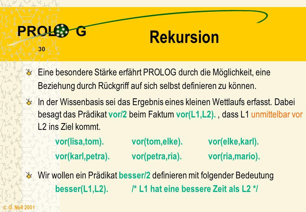 PROL G © G. Noll 2001 29 Übung 2 Verwenden Sie auch die Möglichkeit, die Arbeit der Inferenzmaschine mit einem Trace zu verfolgen. Bearbeiten Sie die