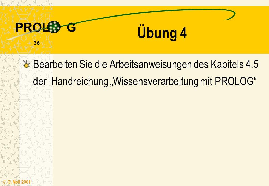 PROL G © G. Noll 2001 35 Übung 3 Untersuchen Sie auch hier die Wirkung einer Vertauschung der beiden Klauseln Wir betrachten das Prädikat wechsel/2 mi