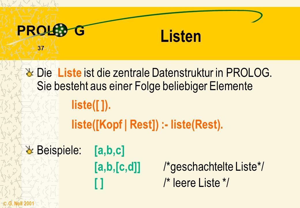 PROL G © G. Noll 2001 36 Übung 4 Bearbeiten Sie die Arbeitsanweisungen des Kapitels 4.5 der Handreichung Wissensverarbeitung mit PROLOG