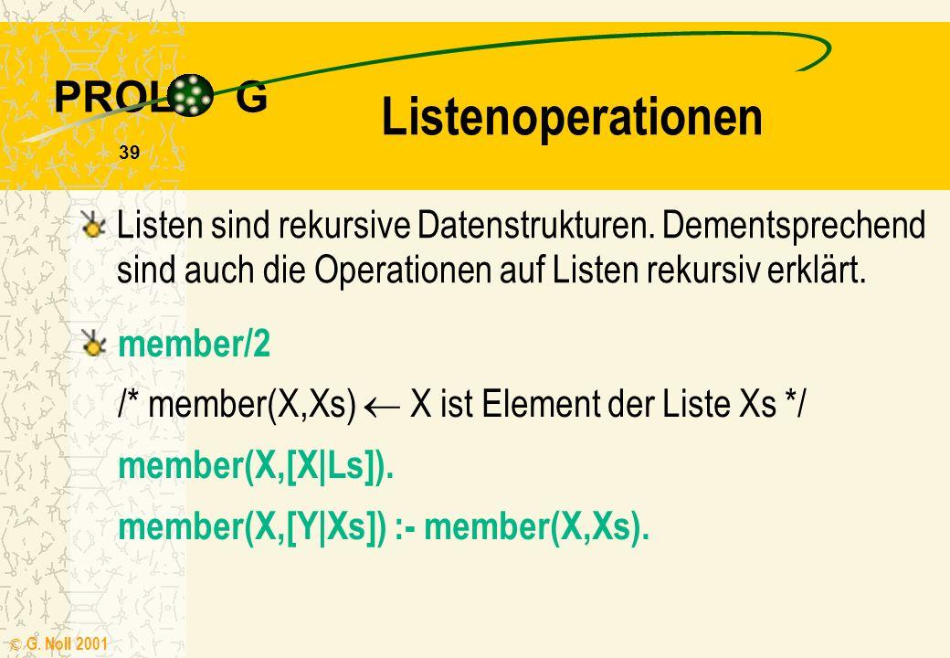 PROL G © G. Noll 2001 38 Listenstruktur ?- [a,b,c,d] = [K | Rs]. /* Rs Listenvariable */ K = a Rs = [b,c,d] Die Zerlegung einer Liste in Kopf und Rest