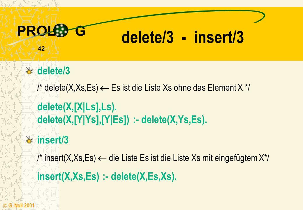 PROL G © G. Noll 2001 41 laenge/2 - append/3 laenge([ ],0). laenge([X|Xs],N) :- laenge(Xs,N1), N is N1+1. append/3 /* append(Xs,Ys,Es) die Liste Es is