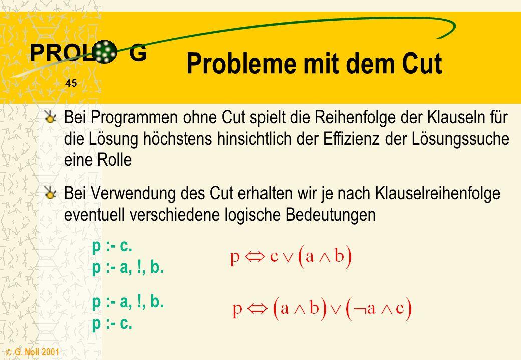 PROL G © G. Noll 2001 44 Ablaufsteuerung max(X,Y,X) :- X >= Y. /* X = max(X,Y) */ max(X,Y,Y) :- X < Y. /* Y = max(X,Y) */ Das Systemprädikat ! (Cut) v