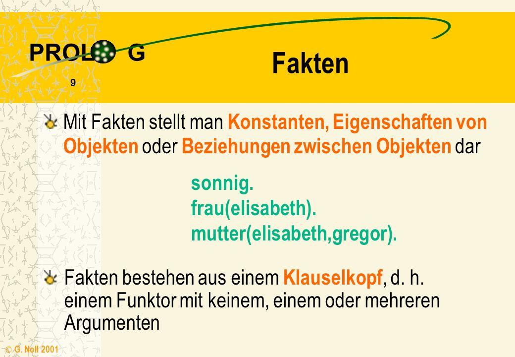 PROL G © G. Noll 2001 8 Klauseln Faktum Regel Fakten Eigenschaften von Objekten oder Beziehungen zwischen ihnen Regeln wenn-dann Aussagen