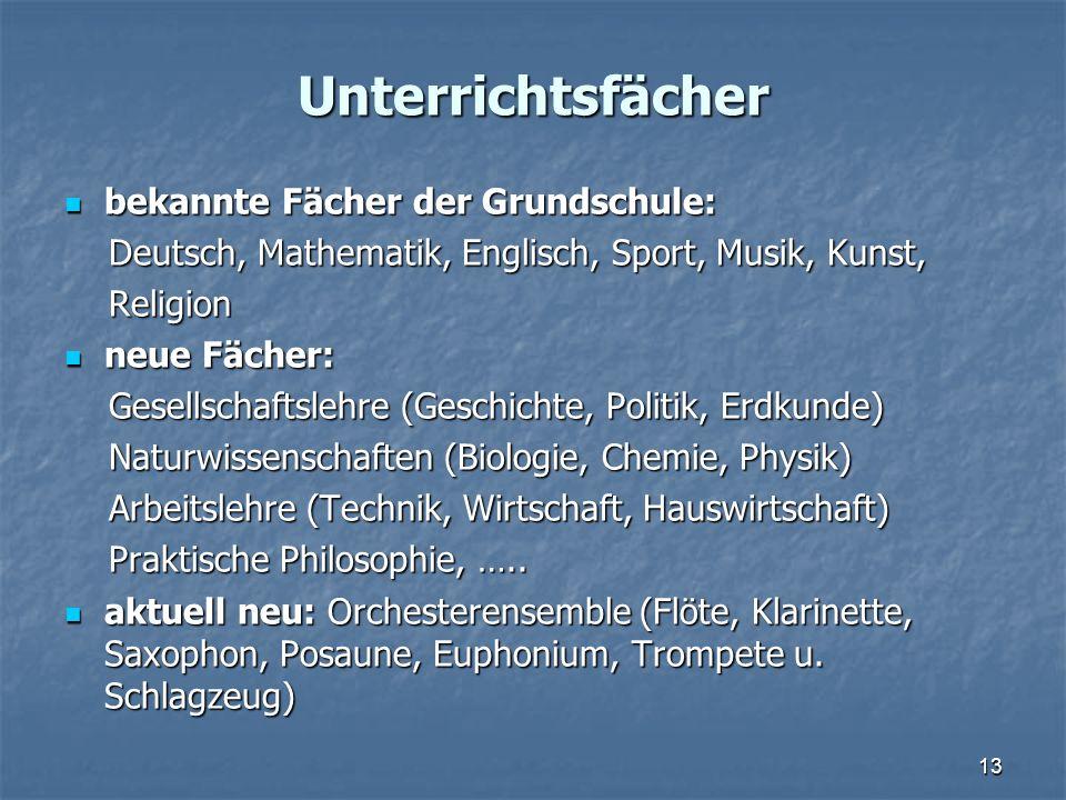 Unterrichtsfächer bekannte Fächer der Grundschule: bekannte Fächer der Grundschule: Deutsch, Mathematik, Englisch, Sport, Musik, Kunst, Deutsch, Mathe