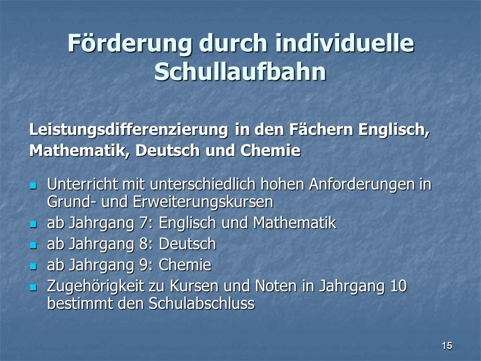 Förderung durch individuelle Schullaufbahn Leistungsdifferenzierung in den Fächern Englisch, Mathematik, Deutsch und Chemie Unterricht mit unterschied