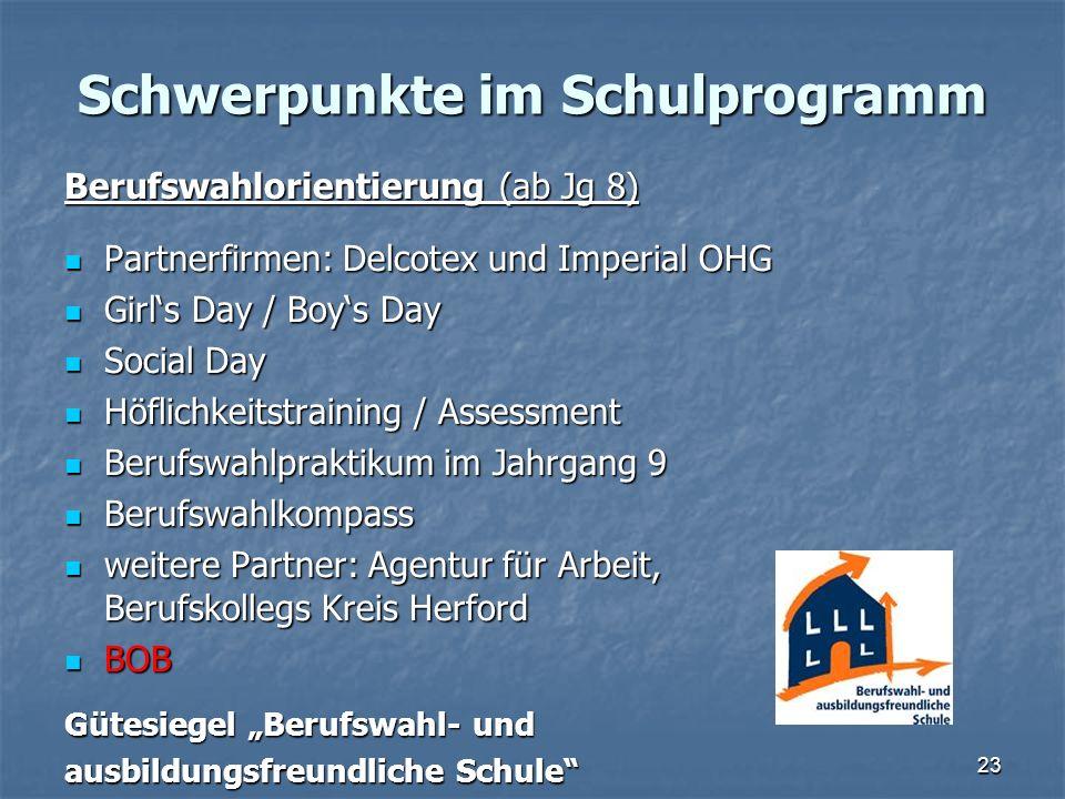Schwerpunkte im Schulprogramm Berufswahlorientierung (ab Jg 8) Partnerfirmen: Delcotex und Imperial OHG Partnerfirmen: Delcotex und Imperial OHG Girls