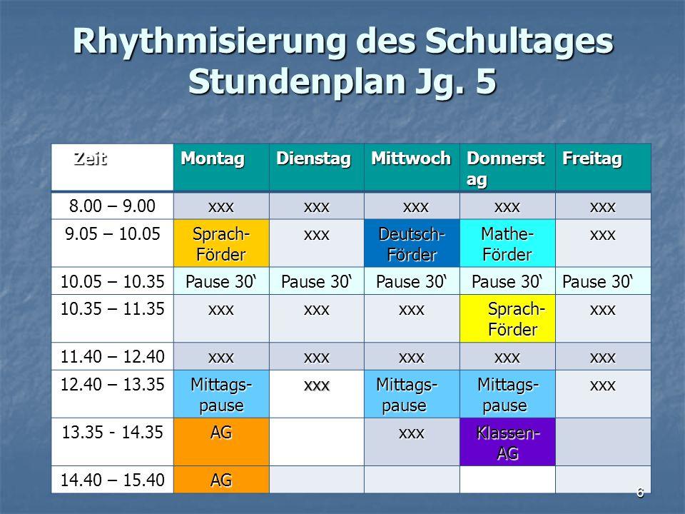 Rhythmisierung des Schultages Stundenplan Jg. 5 Rhythmisierung des Schultages Stundenplan Jg. 5 Zeit ZeitMontagDienstagMittwoch Donnerst ag Freitag 8.
