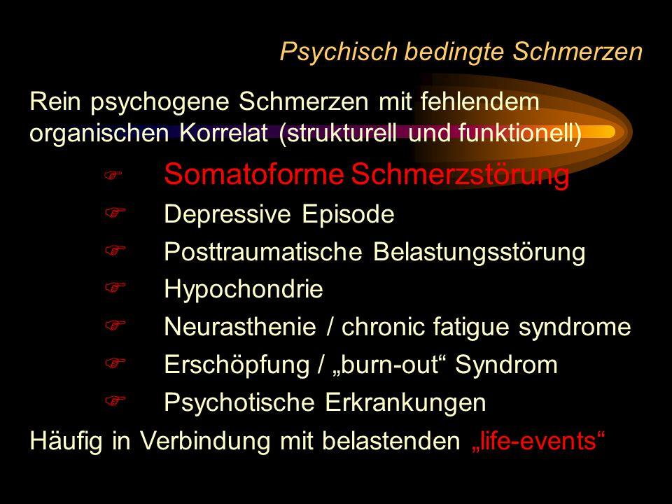Psychisch bedingte Schmerzen Rein psychogene Schmerzen mit fehlendem organischen Korrelat (strukturell und funktionell) Somatoforme Schmerzstörung Dep