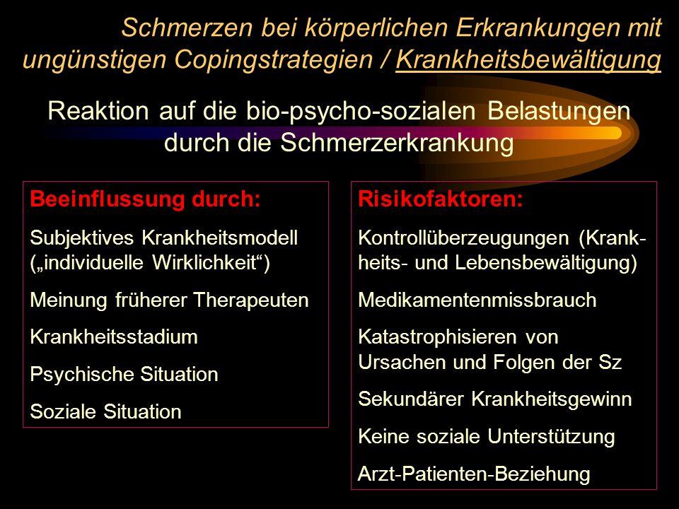 Schmerzen bei körperlichen Erkrankungen mit ungünstigen Copingstrategien / Krankheitsbewältigung Reaktion auf die bio-psycho-sozialen Belastungen durc