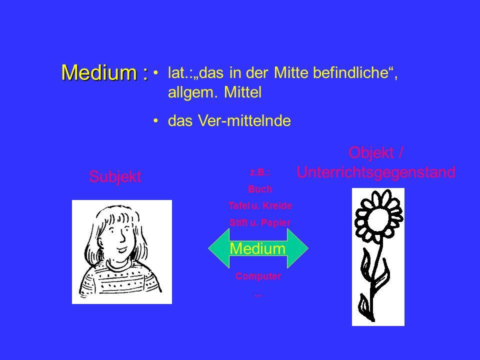 Medium : lat.:das in der Mitte befindliche, allgem.