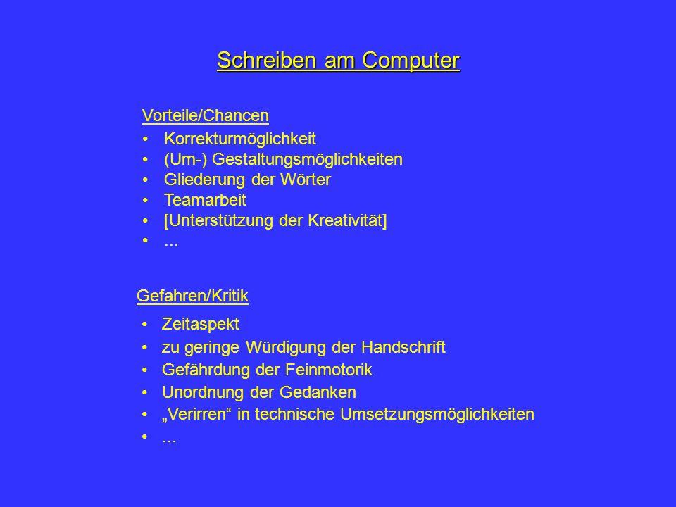 Schreiben am Computer Korrekturmöglichkeit (Um-) Gestaltungsmöglichkeiten Gliederung der Wörter Teamarbeit [Unterstützung der Kreativität]...