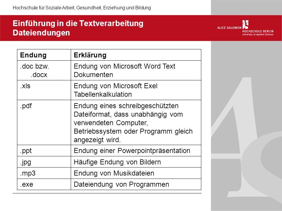 Hochschule für Soziale Arbeit, Gesundheit, Erziehung und Bildung Einführung in die Textverarbeitung Dateiendungen EndungErklärung.doc bzw..docx Endung