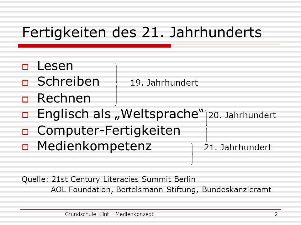 Grundschule Klint - Medienkonzept2 Fertigkeiten des 21. Jahrhunderts Lesen Schreiben 19. Jahrhundert Rechnen Englisch als Weltsprache 20. Jahrhundert