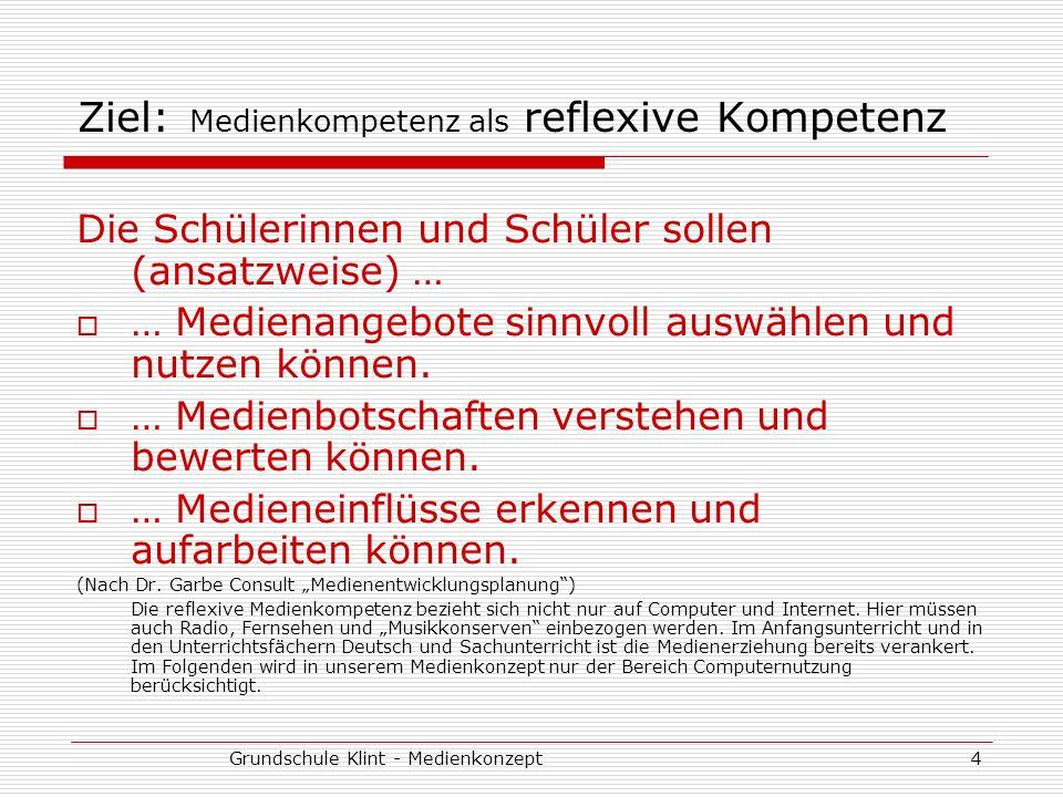 Grundschule Klint - Medienkonzept4 Ziel: Medienkompetenz als reflexive Kompetenz Die Schülerinnen und Schüler sollen (ansatzweise) … … Medienangebote