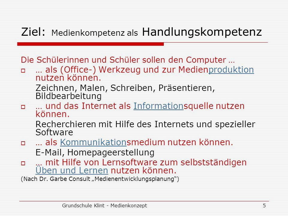 Grundschule Klint - Medienkonzept5 Ziel: Medienkompetenz als Handlungskompetenz Die Schülerinnen und Schüler sollen den Computer … … als (Office-) Wer