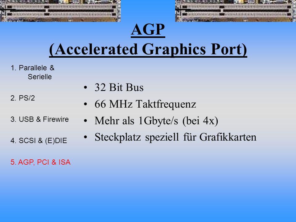 AGP (Accelerated Graphics Port) 32 Bit Bus 66 MHz Taktfrequenz Mehr als 1Gbyte/s (bei 4x) Steckplatz speziell für Grafikkarten 1.