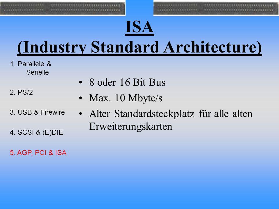 ISA (Industry Standard Architecture) 8 oder 16 Bit Bus Max. 10 Mbyte/s Alter Standardsteckplatz für alle alten Erweiterungskarten 1. Parallele & Serie