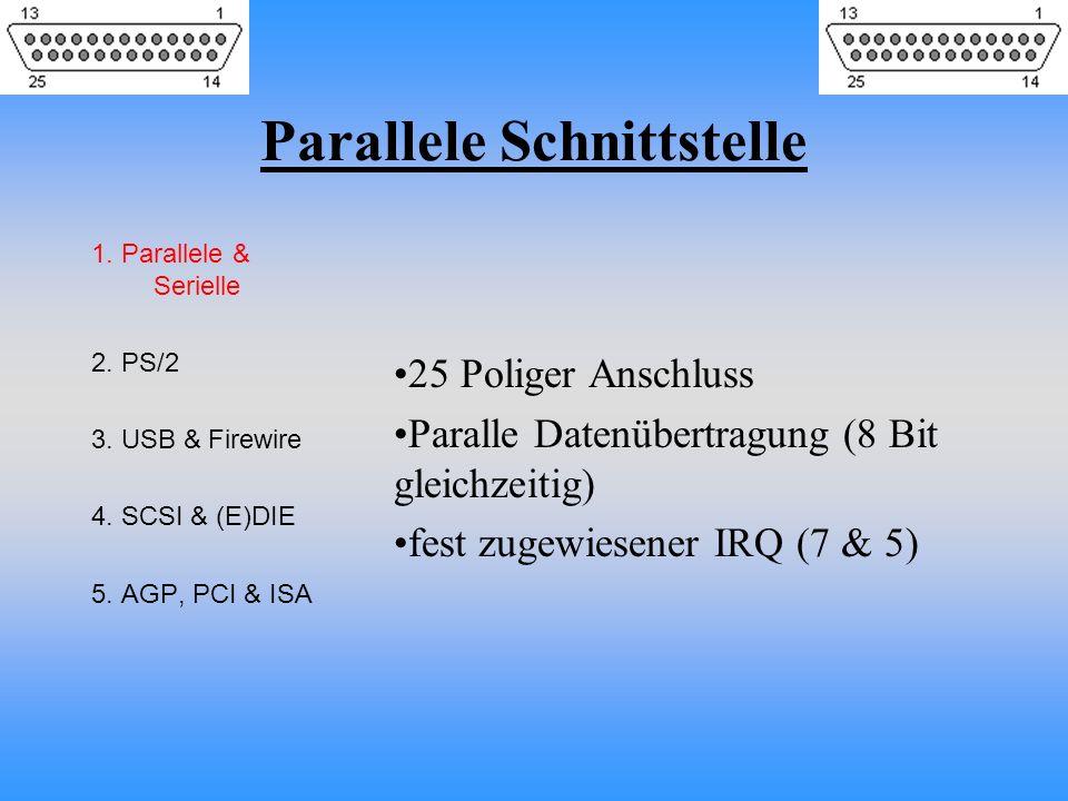 Parallele Schnittstelle 1. Parallele & Serielle 2. PS/2 3. USB & Firewire 4. SCSI & (E)DIE 5. AGP, PCI & ISA 25 Poliger Anschluss Paralle Datenübertra