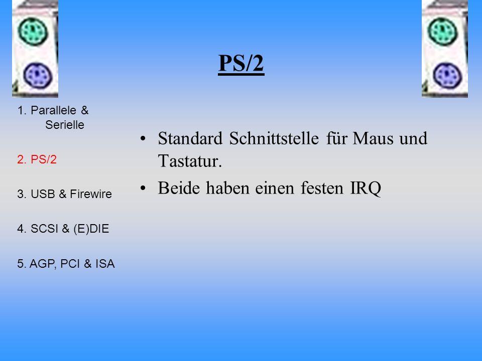 PS/2 Standard Schnittstelle für Maus und Tastatur. Beide haben einen festen IRQ 1. Parallele & Serielle 2. PS/2 3. USB & Firewire 4. SCSI & (E)DIE 5.