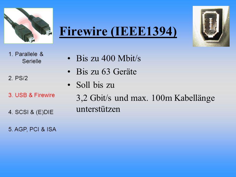 Firewire (IEEE1394) Bis zu 400 Mbit/s Bis zu 63 Geräte Soll bis zu 3,2 Gbit/s und max. 100m Kabellänge unterstützen 1. Parallele & Serielle 2. PS/2 3.