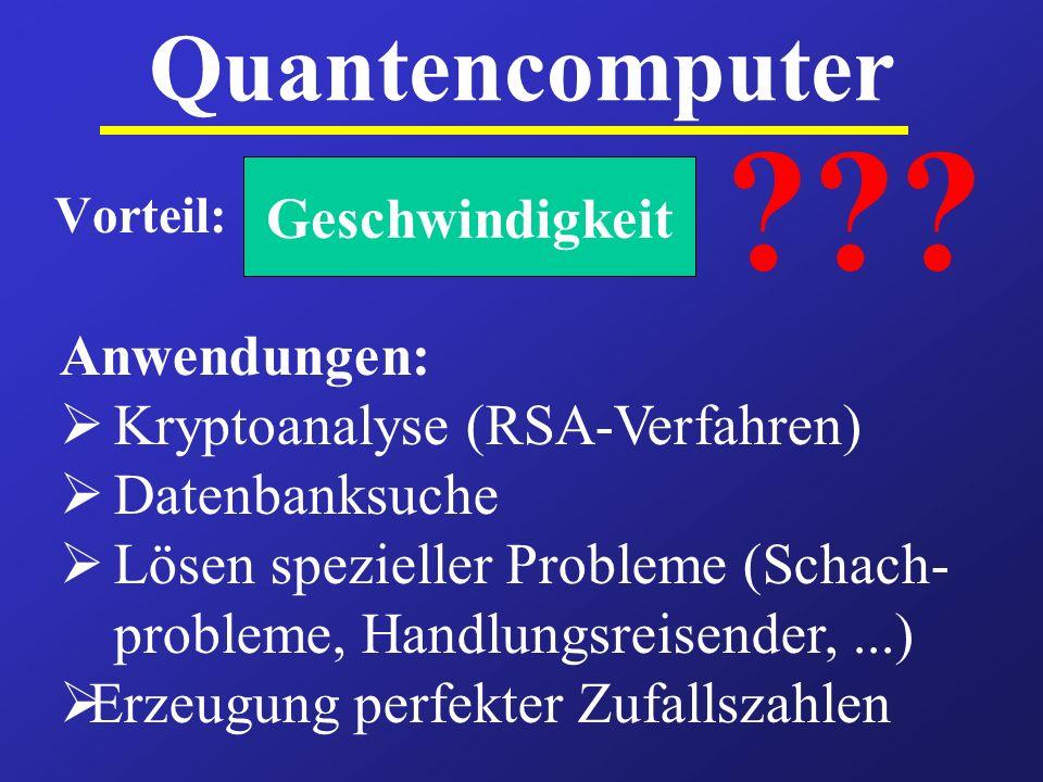 Quantencomputer Vorteil: Anwendungen: Kryptoanalyse (RSA-Verfahren) Datenbanksuche Lösen spezieller Probleme (Schach- probleme, Handlungsreisender,...