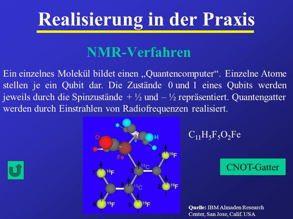 NMR-Verfahren Realisierung in der Praxis Ein einzelnes Molekül bildet einen Quantencomputer. Einzelne Atome stellen je ein Qubit dar. Die Zustände 0 u