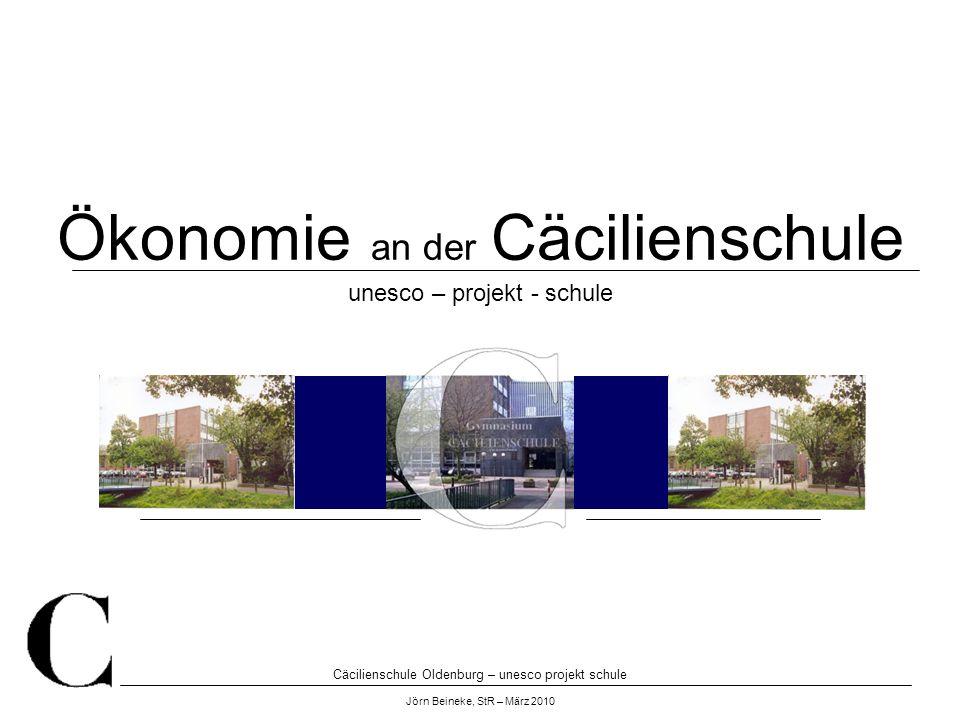 Cäcilienschule Oldenburg – unesco projekt schule Jörn Beineke, StR – März 2010 Ökonomie an der Cäcilienschule unesco – projekt - schule