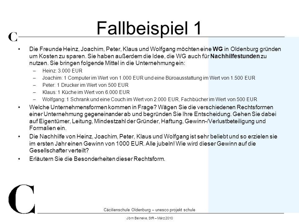 Cäcilienschule Oldenburg – unesco projekt schule Jörn Beineke, StR – März 2010 Fallbeispiel 1 Die Freunde Heinz, Joachim, Peter, Klaus und Wolfgang mö