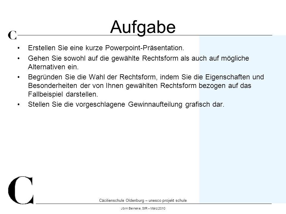 Cäcilienschule Oldenburg – unesco projekt schule Jörn Beineke, StR – März 2010 Aufgabe Erstellen Sie eine kurze Powerpoint-Präsentation. Gehen Sie sow