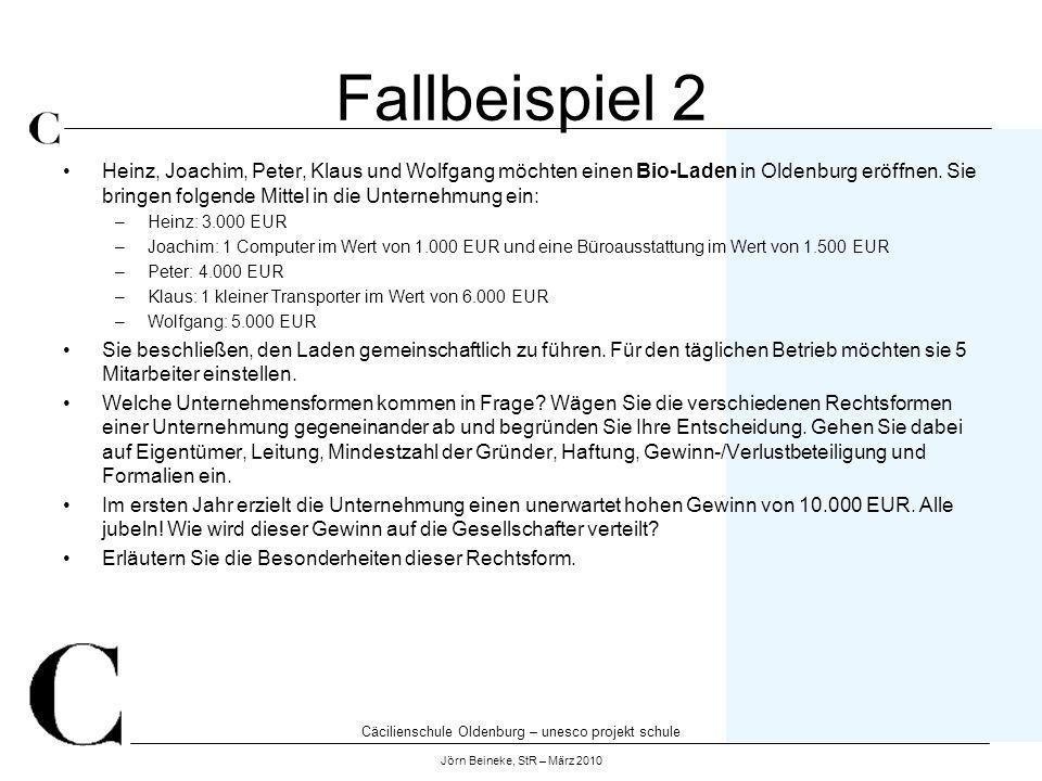 Cäcilienschule Oldenburg – unesco projekt schule Jörn Beineke, StR – März 2010 Fallbeispiel 2 Heinz, Joachim, Peter, Klaus und Wolfgang möchten einen