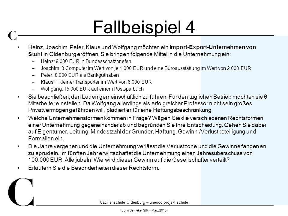 Cäcilienschule Oldenburg – unesco projekt schule Jörn Beineke, StR – März 2010 Fallbeispiel 5 Heinz, Joachim, Peter, Klaus und Wolfgang besitzen bereits ein Software-Unternehmen mit 1000 Mitarbeitern in Oldenburg.