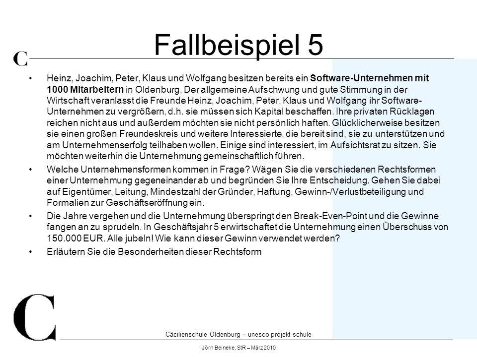 Cäcilienschule Oldenburg – unesco projekt schule Jörn Beineke, StR – März 2010 Fallbeispiel 5 Heinz, Joachim, Peter, Klaus und Wolfgang besitzen berei