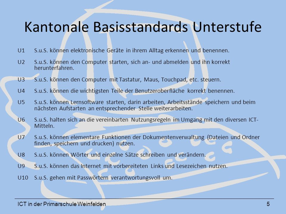 ICT in der Primarschule Weinfelden5 Kantonale Basisstandards Unterstufe U1 S.u.S.