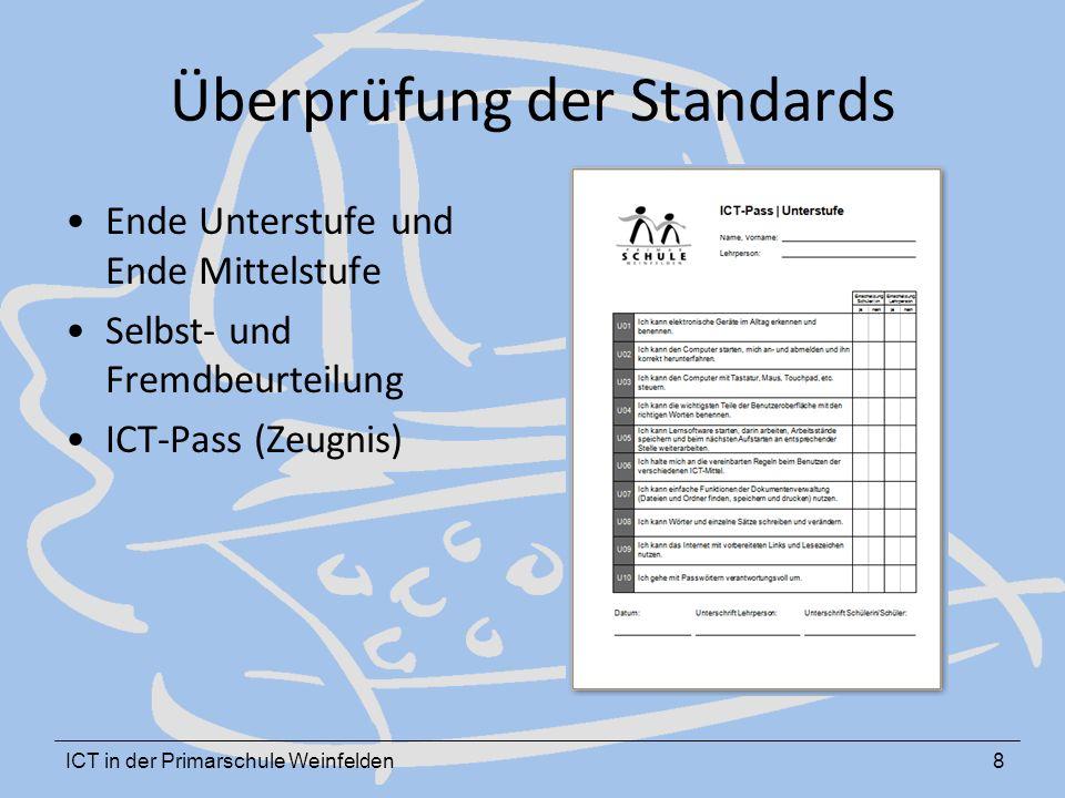 ICT in der Primarschule Weinfelden8 Überprüfung der Standards Ende Unterstufe und Ende Mittelstufe Selbst- und Fremdbeurteilung ICT-Pass (Zeugnis)