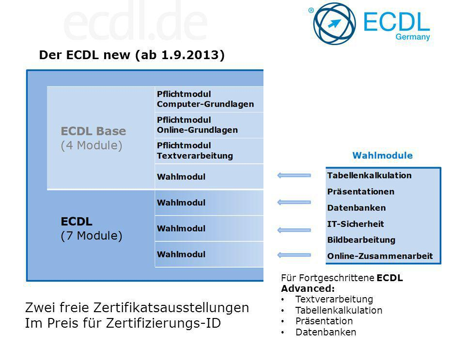 Der ECDL new (ab 1.9.2013) Zwei freie Zertifikatsausstellungen Im Preis für Zertifizierungs-ID Für Fortgeschrittene ECDL Advanced: Textverarbeitung Tabellenkalkulation Präsentation Datenbanken