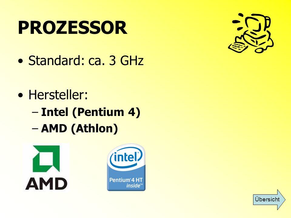 ARBEITSSPEICHER RAM (Random Access Memory) Zwischenspeicher – schneller Zugriff für Prozessor Größe in MB (Megabyte) Standard: 1024 MB oder mehr Übersicht