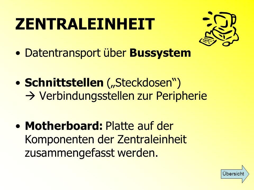 ZENTRALEINHEIT Datentransport über Bussystem Schnittstellen (Steckdosen) Verbindungsstellen zur Peripherie Motherboard: Platte auf der Komponenten der