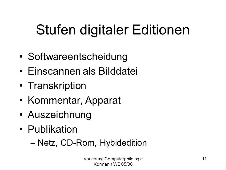 Vorlesung Computerphilologie Kormann WS 05/06 11 Stufen digitaler Editionen Softwareentscheidung Einscannen als Bilddatei Transkription Kommentar, App