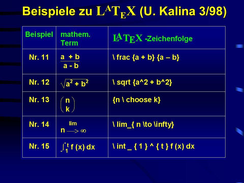 Joachim Klaus, Gerhard Jaworek, Michael Zacherle 2 /2001 Während LaTeX sich als Textsatzsystem für Blinde hervorragend eignet, stellt es in der Ver- w