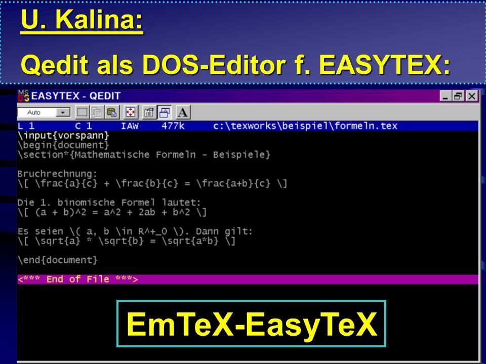 Testdatei L A T E X \input{vorspann} \begin{document} \section*{Mathematische Formeln - Beispiele} Bruchrechnung: \[ \frac{a}{c} + \frac{b}{c} = \frac