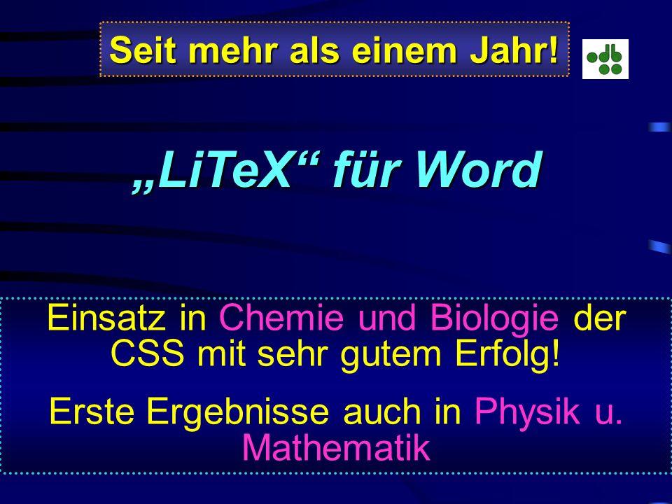 Warum konnte L A T E X trotz seiner Bedeutung nicht überzeugen ? Zu große Zeitverzögerung durch Kompilierung, wodurch die Programmoberfläche ständig g